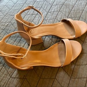 Candie's tan block heel sandals with ankle strap